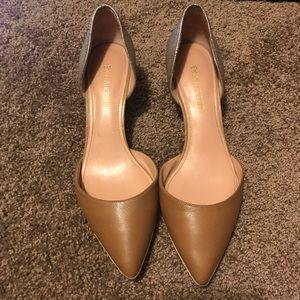 Enzo Angiolini tan and gold heels